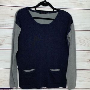 Cyrus Navy & Gray Sweater With Back Button Detail